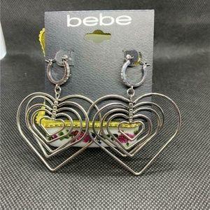 Bebe Silver-Tone 5 Multi Heart Pierced Earrings